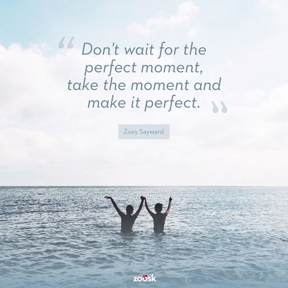 """Don't wait for the perfect moment, take the moment and make it perfect."" – Zoey Sayward:"