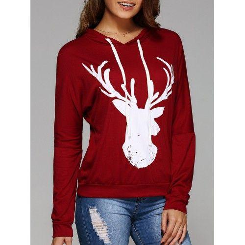 Womens Christmas Deer Print 3//4 Sleeve Crew Neck Top Tshirt