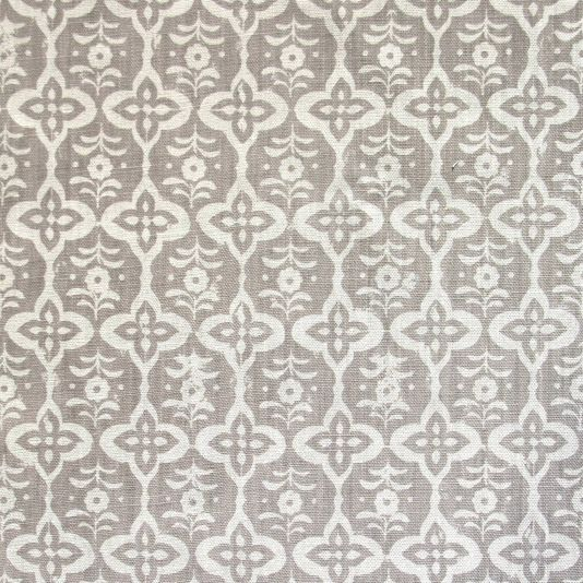 Cordoba Fabric A striking block printed fabric inspired by antique tiles found in a house on the shores of the Bosphorus. Printed in grey onto soft antique linen. Designed, manufactured and printed in the United Kingdom.