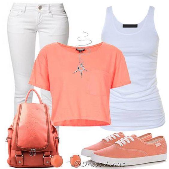 Conjuntos de ropa de moda en colores blanco y pastel rosa - Colores de moda ...