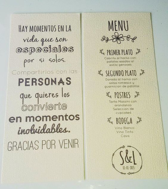 Minutas Imprimibles | Preparar tu boda es facilisimo.com