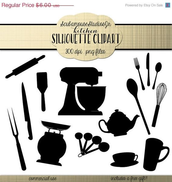 70% OFF SALE Kitchen Silhouette Clipart, 300 dpi png files ...