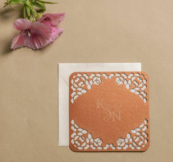 Laser Cut Invites engraved monogram elegant por NinahCoutureInvites
