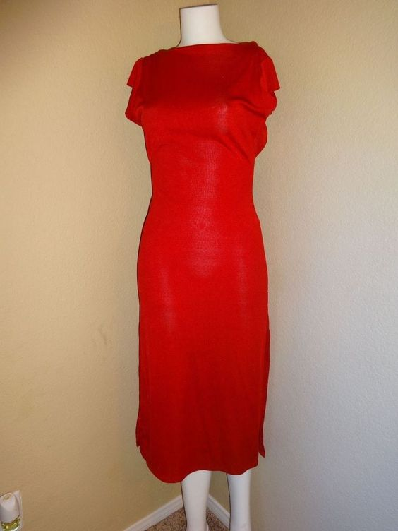 Vintage 1970's CLIMAX by David Howard Red Rayon Backless Dress #ClimaxDavidHoward