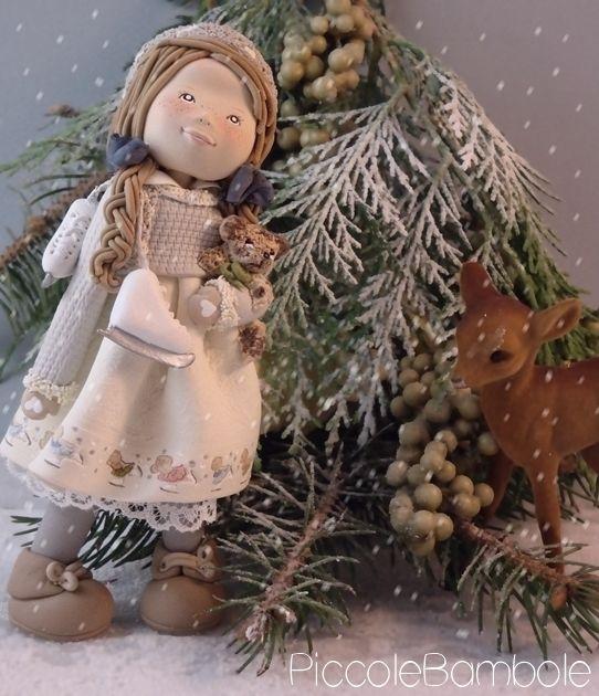 Doll cold porcelain - porcellana fredda - natale - neve
