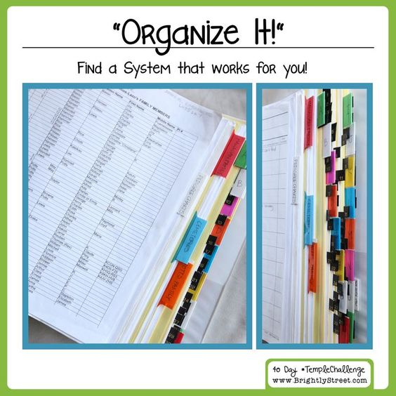 Day 28 Organize It! - Find out how to keep your Family History work organized. #templechallenge