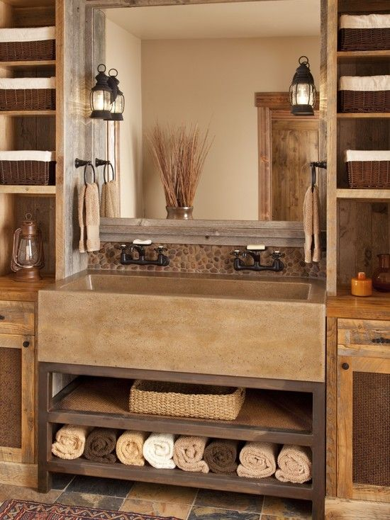 Great mix of modern and rustic bathrooms pinterest for Rustic farmhouse bathroom ideas