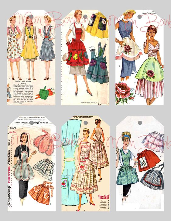 Digital Collage Sheet of Vintage Sewing Pattern Aprons Tags ...