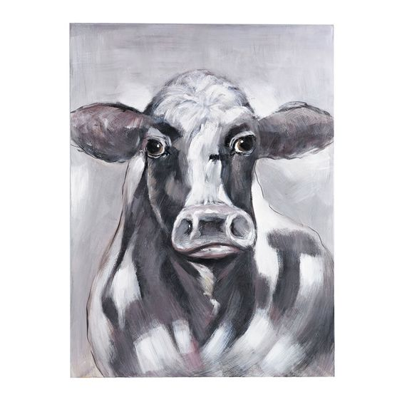 I kind of love this cow oil painting