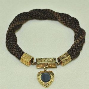 Beautiful Victorian 9ct Gold Mourning Hair Bracelet & Heart Locket C1870 | eBay