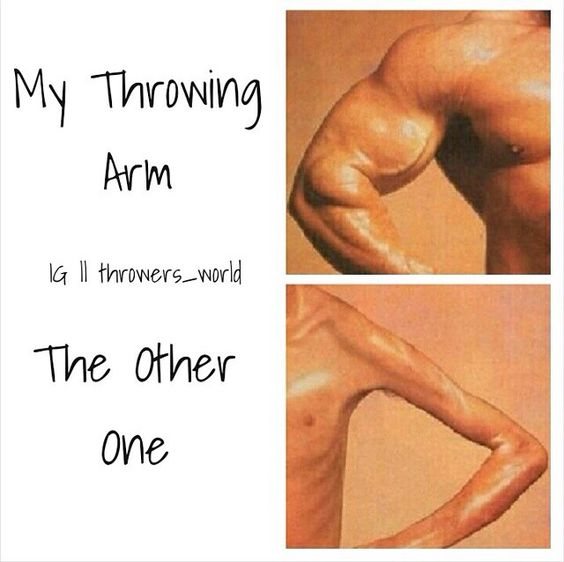 Haha. Similar but my arms dont look like that...they look the same but feel different when i throw.