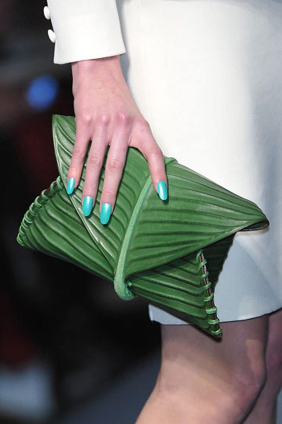Green Clutch  This reminds me of clothes my daughter designed when she was just a wee thing. EXACTLY this kind of thing.:
