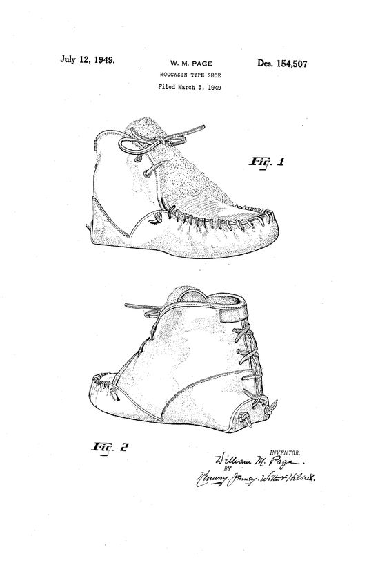 1949 DESIGN FOR A MOCCASIN TYPE SHOE  William M. Page