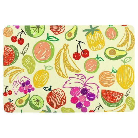 Fruit Medley Drawing Sketches Kitchen Floor Mat Tissue Paper
