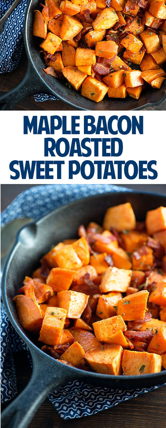 Maple Bacon Sweet Potatoes | Recipe | Maple Bacon, Roasted Sweet ...