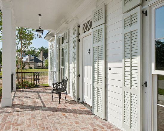 Spaces Acadian House Facade Doors With Shutters Design