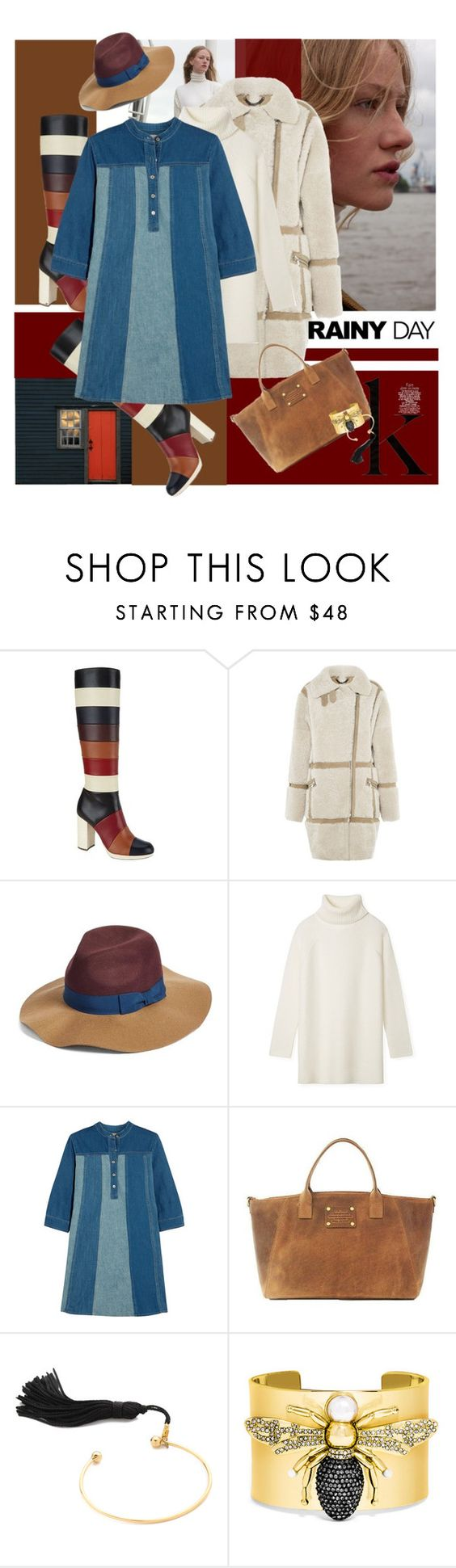 """""""Denim, Wool and Shearling"""" by laste-co ❤ liked on Polyvore featuring Valentino, Whistles, BCBGeneration, Tory Burch, MiH Jeans, Vanessa Mooney and BaubleBar"""