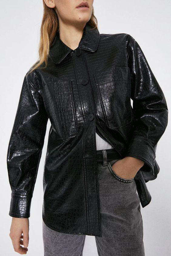 Faux Leather Croc Patch Pocket Shirt warehouse