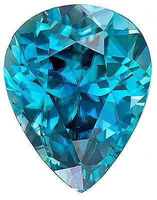 Dazzling Cambodian Precious Blue Zircon Faceted Gemstone, Pear Cut, 6.2 carats on Etsy, $2,302.00: