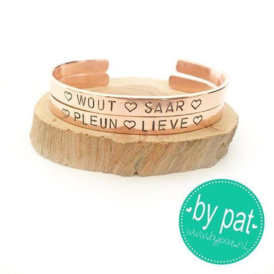 #bypat #rose #koper #slagletters #armband #handgemaakt #slagletterarmband #cuff