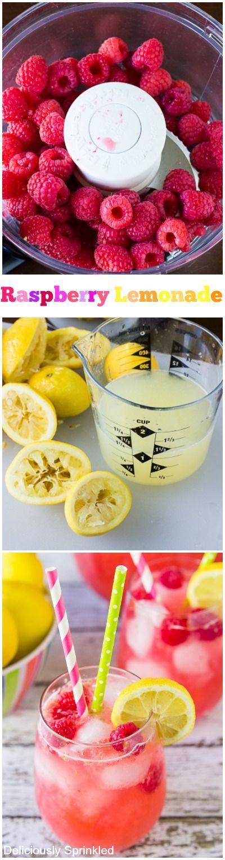 Homemade Raspberry Lemonade via Deliciously Sprinkled #summer #hydrate