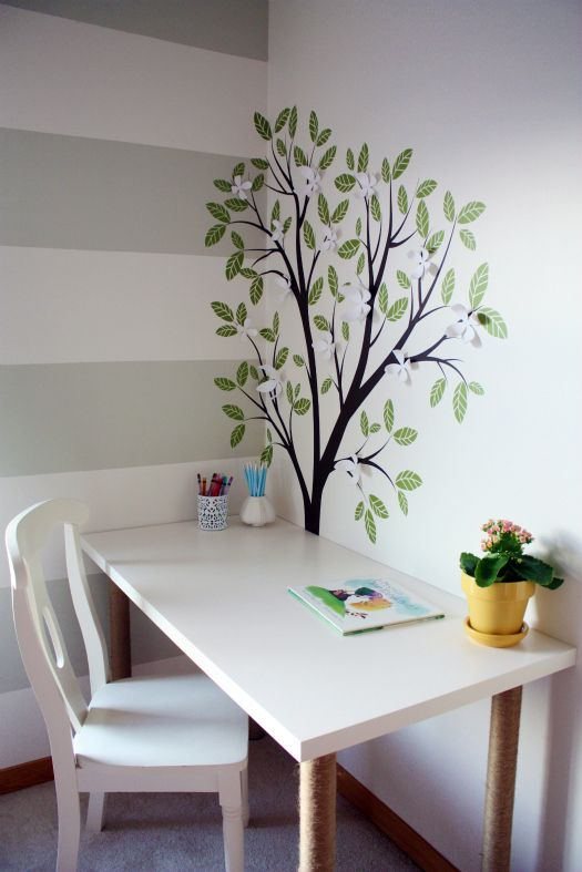 love the striped wall and the tree decal