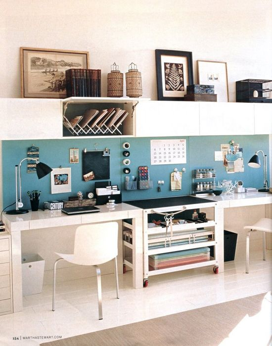 From the side to side desks to the pop of color, I love everything about this office (ok, maybe not the choice of pieces up top)