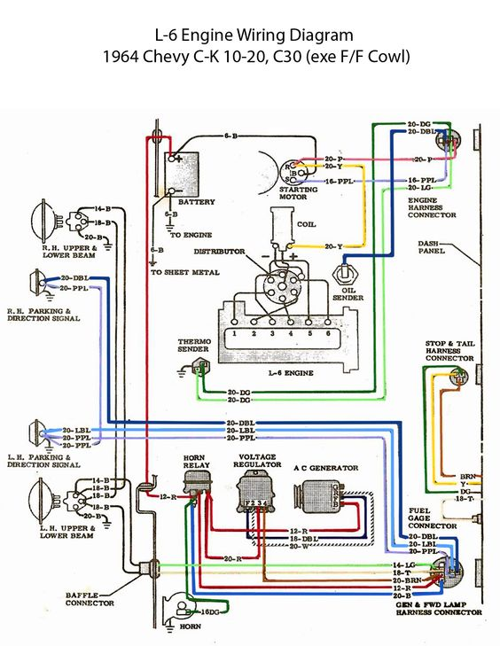 electric: l-6 engine wiring diagram | '60s chevy c10 - wiring & electric | pinterest | engine ... wire diagram for a 1965 chevy c 20 wire diagram for a razor pocket rocket #12