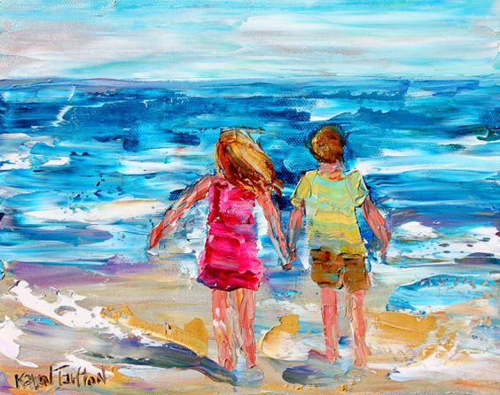Beach Children painting original oil abstract by Karensfineart