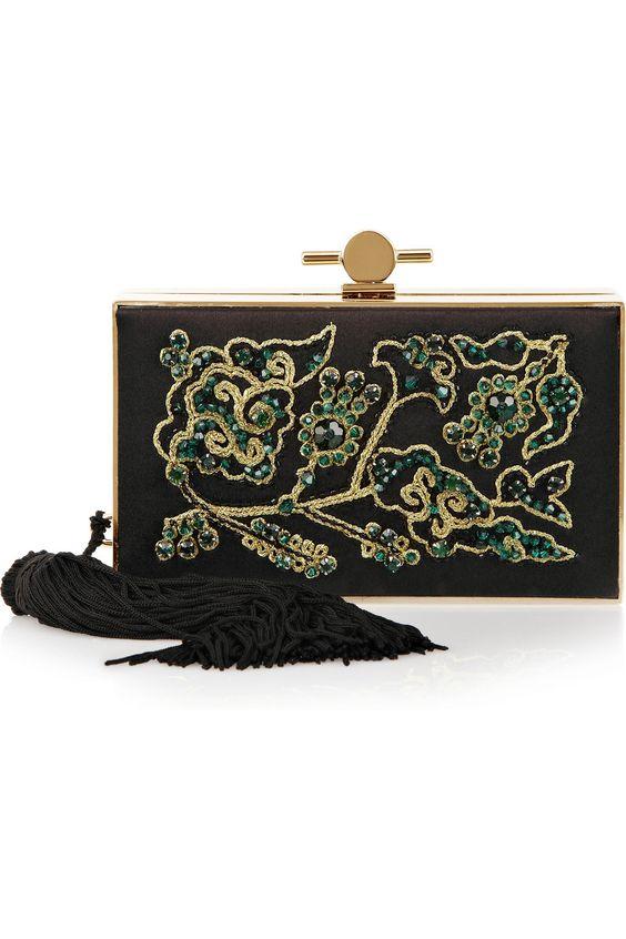 Jason Wu|Daphne embroidered satin and metal box clutch|NET-A-PORTER.COM