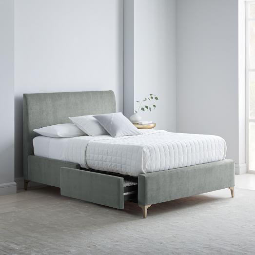 Andes Deco Upholstered Storage Bed Mineral Gray King Bed Frame