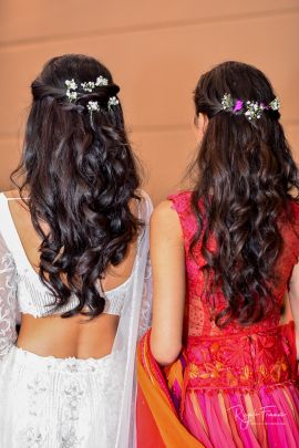 Twinning With The Bridesmaids With Floral Hairstyles Lehenga Wedmegood Snehi Bhagya Wedmegoo Haircuts Straight Hair Quince Hairstyles Bridesmaid Hair Up