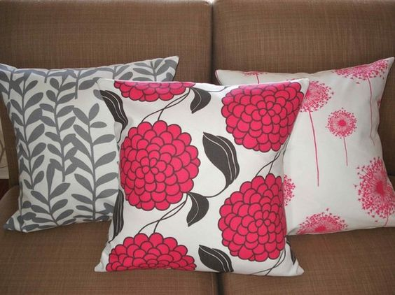 THREE New 18x18 inch Designer Handmade Pillow Cases in fabric PINK and GREY.