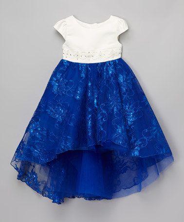 Bijan Kids Royal Blue &amp White Lace Hi-Low Dress - Toddler &amp Girls ...