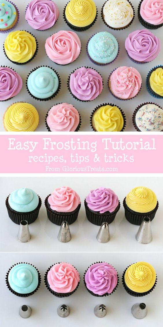 The BEST cupcake frosting tutorial!!  Great recipes and tips! - via GloriousTreats.com
