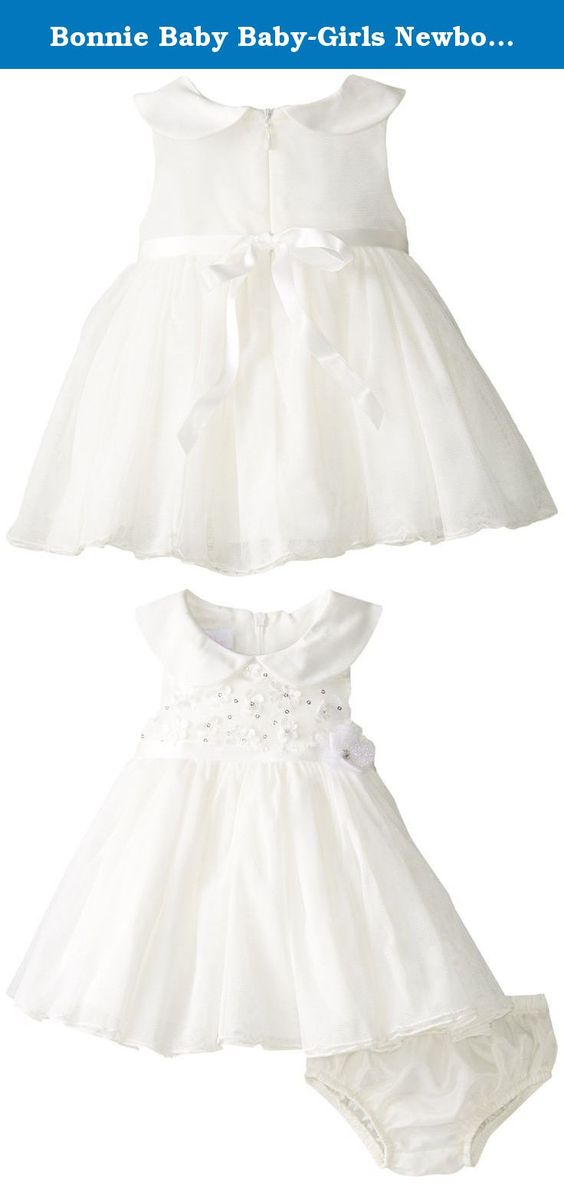 Bonnie Baby Baby-Girls Newborn Daisy Sequin Bonaz Dress, Ivory, 0-3 Months. Daisy sequin trimmed bodice to mesh overlay party dress.