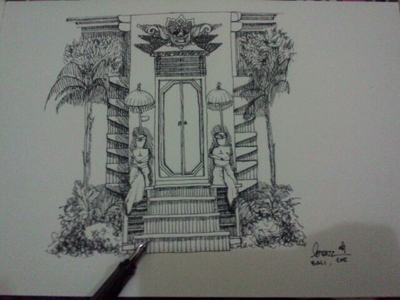 #architecture #balinese #drawing by me