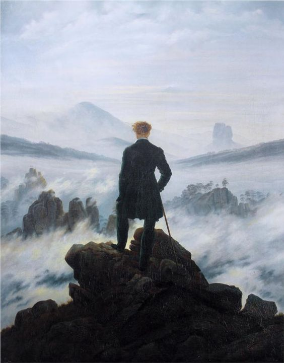 """The wanderer above the sea of fog"" (1818), Caspar David Friedrich.:"