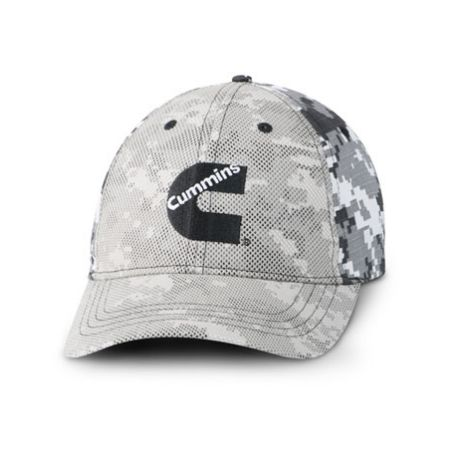"""Available at www.DieselTees.com Sharp digital camo cap includes classic trucker details like an adjustable plastic snap back and mesh-inspired front overlay. Structured chino cotton twill. Camo. Embroidered Cummins """"C"""" logo center front."""