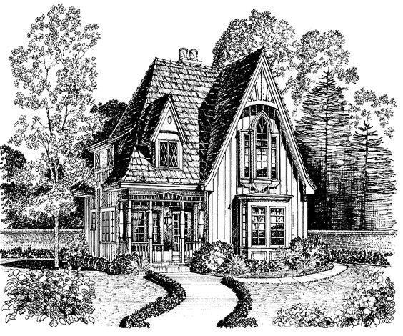 Gothic revival house plan with 1183 square feet and 2 for Gothic cottage plans