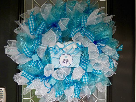 Gift for baby new baby welcoming wreath hospital door for Baby boy door decoration