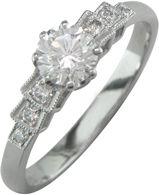 Art deco stye Platinum or gold vintage style ring.