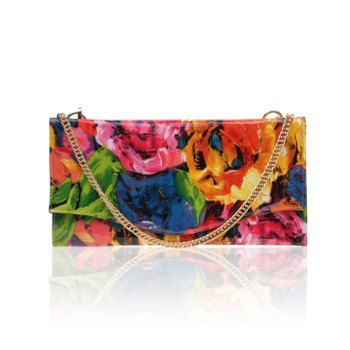 Floral Print and Colorful Design Women's Clutch
