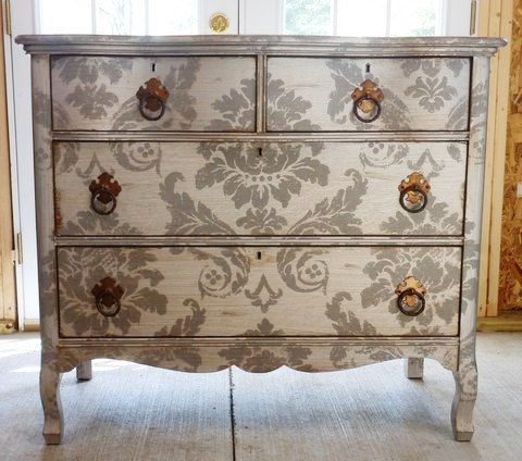 Vintage Stencilled Silver Damask Commode Sale by antique2chic on Etsy, $700.00: