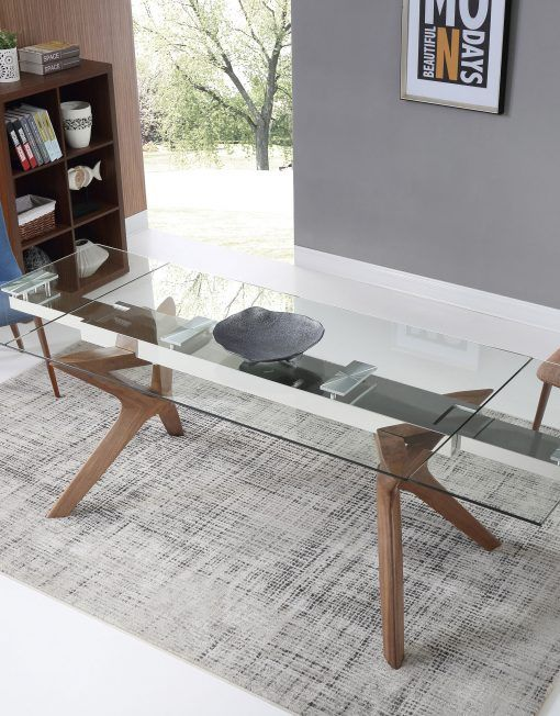The Bridge Clear Glass Rectangular Extendable Table Glass Dining Table Glass Dining Table Rectangular Glass Dinning Table