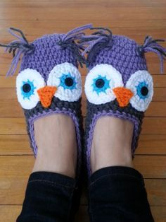 Crochet Owl Slippers - Custom made - Women/Men/Children ...