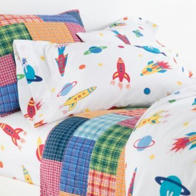 outer space bedding | Space Mission Patchwork Quilt and Percale Bedding - Kids Decorating ...