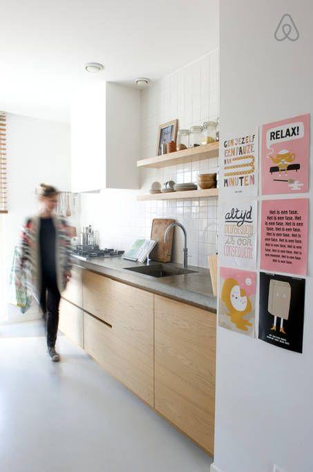 keuken - witte tegels achterwand betonnen blad - Keuken  Pinterest