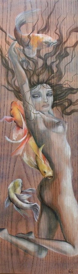 Original Painting Fantasy Nautical Fine Art Female Nude Koi Fish Oak Nouveau Sea | eBay