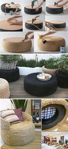 On a des doute sur le confort du fauteuil, mais le pouf est une super idée! Un DIY en mode ultra récupération!